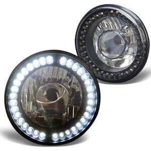7x7 H6024/H6015 ROUND BLACK HOUSING PROJECTOR LED GLASS HEADLAMPS+H4 LIGHT BULBS