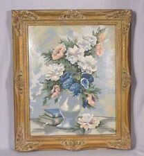 Vtg Paint By Number Still Life Floral Arrangement Craft Master Ornate Frame