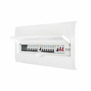 British General  22-Module 12-Way Populated Dual RCD White Consumer Unit