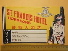 "Hong Kong 1930's Queen's Rd. C. ""St. Francis Hotel Ltd."" Luggage Label Rare (2)"