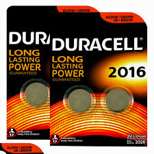 4 x Duracell CR2016 batteries Lithium Coin Cell DL2016 CR BR2016 3V Pack of 2