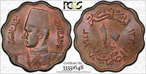 EGYPT , 10 MILLIEMES KING FAROUK 1943  PCGS MS 64 BN , RARE