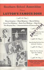 c 1940s COLOR POSTER LAYTON'S FAMOUS BULL DOGS Trick dogs JACK RUSSELL CHIHUAHUA