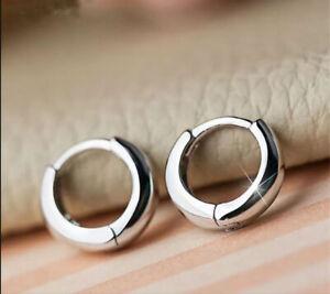 925 Men Women Sterling Silver Plated Small Round Huggie Hoop Earrings Fashion