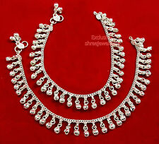 Designer Belly Dance Silver Stones Bells/Ghungroo Payal /Anklets Party Jewelry