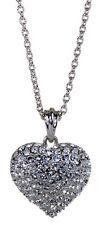 Swarovski Elements Crystal Puffed Heart Pendant Necklace Rhodium Authentic 7116u