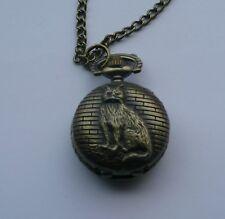 Small Miniature bronze alley cat pocket watch fob necklace  quarts