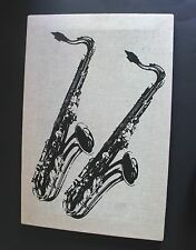 "Two Saxophones Black Silk Screen On Canvas 21"" X 14"" Wall Art"
