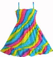 Kids Girls Dress Rainbow Smocked Halter Size2 3 4 5 6 6X 7 8 9 10 Sunny Fashion