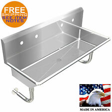 "INDUSTRIAL 2 STATION, MULTIUSER WASH UP HAND SINK 48"" WALL MOUNT STAINLESS STEEL"