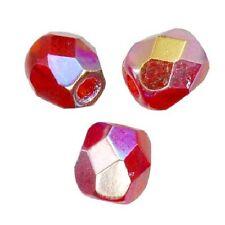 25 Perles Facettes cristal de boheme 6mm  LIGHT SIAM AB