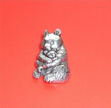 Lovely English Pewter Metal GIANT PANDA BEAR With Cub  Pin Badge Brooch - New