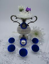 """Velvet Fabric Covered Buttons Deep Blue """"ENGLAND"""" Metal color Silver size 23mm."""