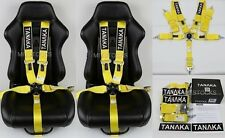 "2 X TANAKA YELLOW 5 POINT CAMLOCK RACING SEAT BELT HARNESS 3"" SFI 16.1 CERTIFIED"