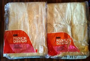 "Vintage Curtains Drapes MCM 4 Panels Laredo 101 Celery 50×84"" Long NOS Green"