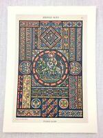 1883 Antique Print Medieval Stained Glass Window St Denis Abbey Church Art
