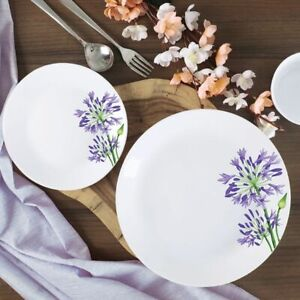 Cello Opalware Purple Verbena Dinner Set, White, 35 PCs
