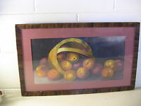 Antique Still Life Print Lithograph Woven Paper Henri Le Roy Apples Fruit Basket
