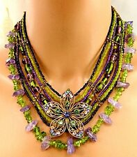 Vintage 3 Pc Lot Green, Purple Glass, Stone Necklaces, Rhinestone Brooch 2 1/4''