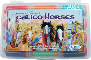 Aurifil Calico Horses 50 wt and 12 wt cotton threads by Lorraine Turner