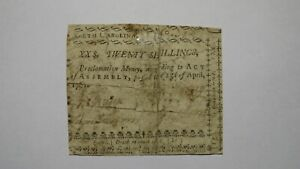 1761 20 Shillings North Carolina Colonial Currency Note Bill! RARE ISSUE! 20s