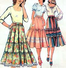 Vintage 70s TIERED SKIRT Sewing Pattern RETRO Waist 76 cm Sz 14 FLARED Peasant