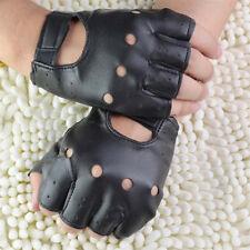 Men Women Cool Punk Soft Leather Fingerless Driving Motorbicycle Biker Gloves XJ