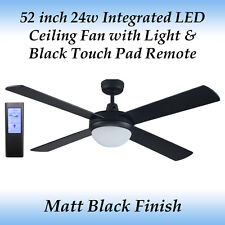Rotor 52 inch LED Ceiling Fan in Matt Black and Black Touch Pad Remote