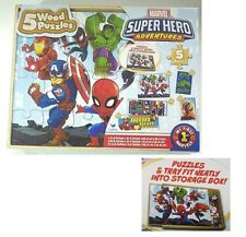 Super Hero Adventures 5 Wood Puzzles Storage Box Tray Educational Learn Puzzle