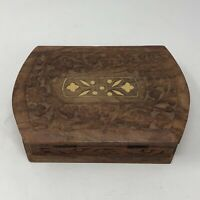 Vintage India Sheesham Wood Hand Carved Inlayed Trinket Keepsake Jewelry Box