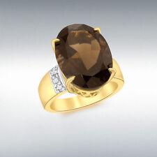 Echte Edelstein-Ringe aus Gelbgold mit Rauchquarz