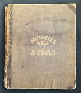 1866 Mitchell Atlas Maps VG