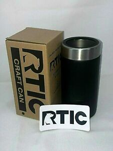 RTIC 16Oz Beer Soda Can Cooler Koozie Black Stainless Stl Vacuum Insulated 1286