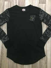 Mens Sik Silk Winter Warm Jumper Crew Neck Gym Long Sleeve Black Grey Size Small