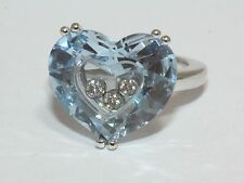 Chopard 18ct White Gold So Happy Diamond Blue Topaz Heart Shaped Ring Size J 1/2