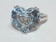Chopard tan feliz Oro Blanco 18 CT Topacio Azul Corazón en Forma de Diamante Anillo Tamaño J 1/2