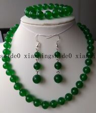 10mm Natural Green Jade Gemstone Round Beads Necklace Bracelet Earrings Set AAA+