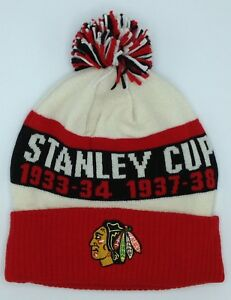 NHL Chicago Blackhawks CCM Vintage Cuffed Stanley Cup Champs Knit Hat Cap Beanie
