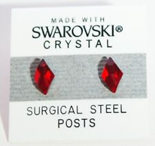 10mm Red Crystal DIAMOND Shape Stud Earrings Made with SWAROVSKI ELEMENTS Gift