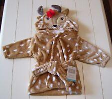 Girls Hudson Baby Plush Soft Deer Fawn Bath Robe Sz 0-9 Months
