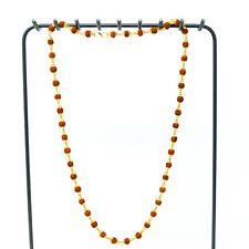 5 Mukhi Rudraksha Jap Mala Rosary Prayer 45 Beads Necklace Golden Cap