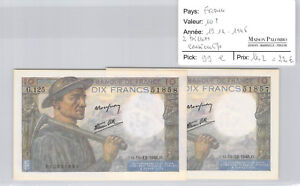 Set Of Two 10 Francs Pit Worker 19.12.1946 G.125 Consecutive Numbers Pick