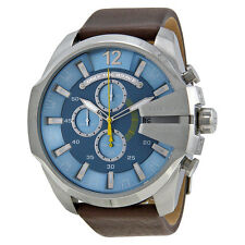 Diesel Mega Chief Chronograph Light Blue Dial Brown Leather Mens Watch DZ4281