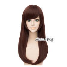 Brown Long Wavy Women Girls Anime Cosplay Full Hair Wig For Overwatch OW D.va