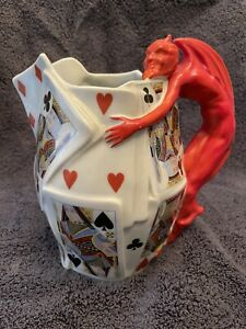 Royal Bayreuth Devil and Cards Pitcher
