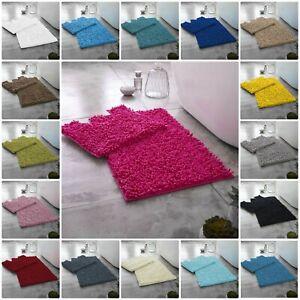 Memory Foam Loop Bath Mat Set Anti Slip Soft Water Absorbent Toilet Bathroom Rug