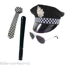 Para Hombre Policia Sombrero tie batuta Lentes Aviador Police Set Hombre Cop Fancy Dress Stag
