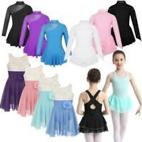 Kids Girls Figure/ Ice/ Roller Skating Leotard Dress Gym Sport Ballet Dance Wear