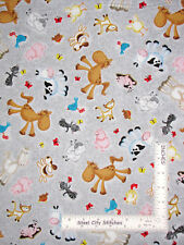 Farm Animals Sheep Horse Cat Cow Gray Cotton Fabric Quilting Treasures By Yard