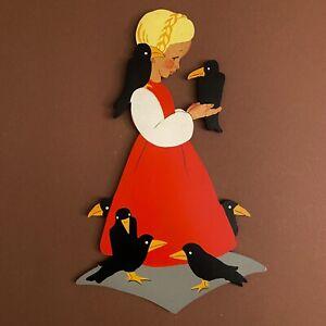 Märchen-Holzbild ALT 1950er 22cm Mertens-Kunst 7 Raben klassisch Wand-Figur 🎁